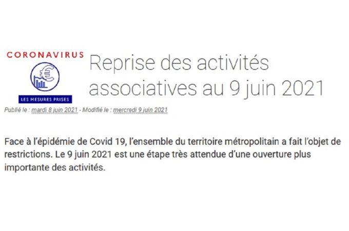 Reprise des activités associatives au 9 juin 2021